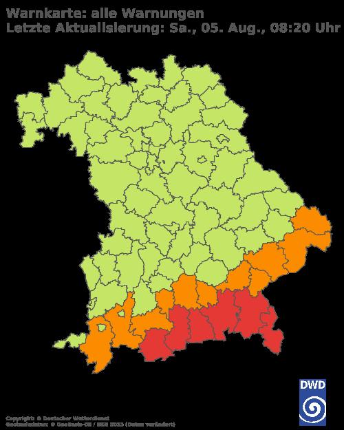 Aktuelle Wetterwarnungen für Passau